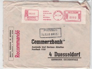 Italy 1980 PopolareBank to Commerzbank Registd Machine Cancel Stamps Cover 24623