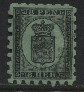 Finland 1867 8 pennia black on green used. (JD)