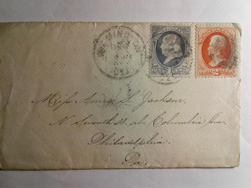 SCOTT # 145 AND 183 CANCEL AMERICAN POSTAL HISTORY 1870 VERY NICE COMBO !!