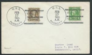 USA 1935 cover USS / PARROTT duplex - nice bird thematic cover.............61871