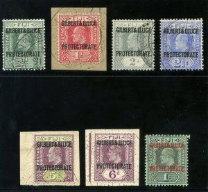 Gilbert & Ellice Is 1911 KEVII set complete very fine used. SG 1-7. Sc 1-7.