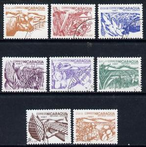 Nicaragua 1987 Agrarian Reform cto set of 8 (various prod...