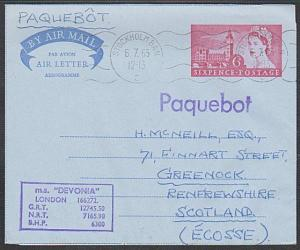GB SWEDEN 1965 MS DEVONIA  ship cover, GB airletter STOCKHOLM PAQUEBOT......1065