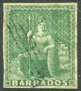 BARBADOS-1857 ½d Yellow-Green. A used 4 margin example Sg 7 V23847