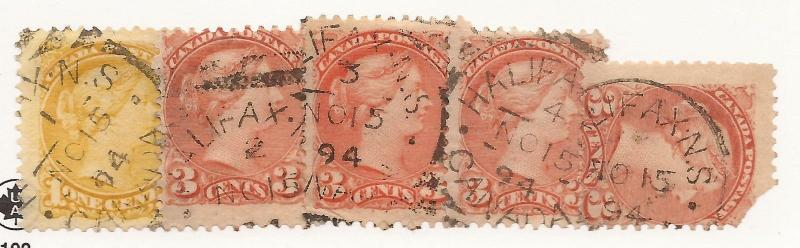 CANADA SQUARED CIRCLE CANCEL SET HALIFAX 5 COPIES F/VF DATED CDS