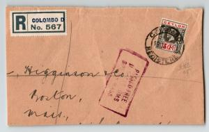Ceylon 1930 Registered Cover to USA / FRONT ONLY - Z13065
