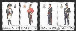 MALTA SG851/4 1989 MALTESE UNIFORMS MNH