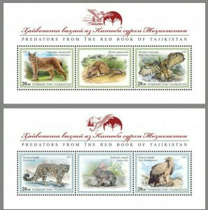Tajikistan 2020 wild cats animals birds of prey red book 2 s/s second type MNH