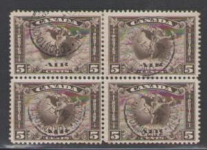 Canada  Sc C2 1930 5c airmail stamp used block of 4