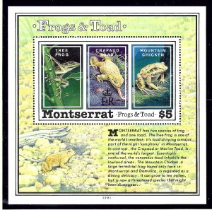 Montserrat 783 MNH 1991 Frogs and Toads S/S             (KA)
