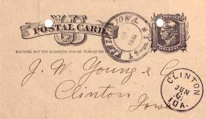 United States Iowa Vinton J. Suron, P.M. 1883 serifed italic double rim doubl...