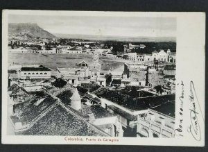 1914 Cartegena Colombia to Paris France View of Port Real Picture Postcard Cover