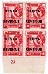 (I.B) KUT Revenue : Kenya Duty 10c (plate marginal)