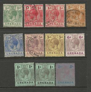GRENADA 1913-22  KGV PART SET  M&U