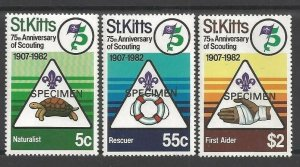 1982 St Kitts Boy Scouts 75th anniversary 'SPECIMEN'