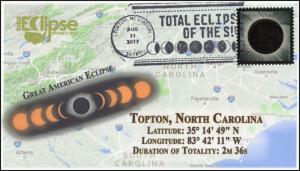 17-264, 2017, Total Solar Eclipse, Topton NC, Event Cover, Pictorial Cancel,