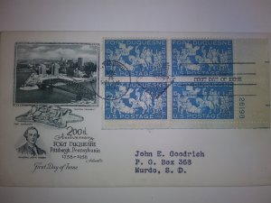 SCOTT # 1123 FIRST DAY OF ISSUE FORT DUQUESNE  PLATE BLOCK ART MASTER CACHET !!