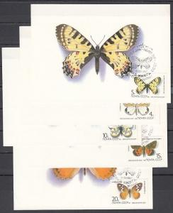Russia, Scott cat. 5435-5439. Butterflies issue on Max. Cards. *