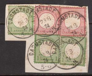 Germany #21 (x3) & #23 (x2) Used On Piece With Darmstadt 1874 Cancels