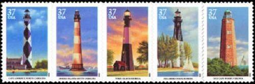 2003 37c Southeastern Lighthouses, Strip of 5 Scott 3787-91 Mint F/VF NH