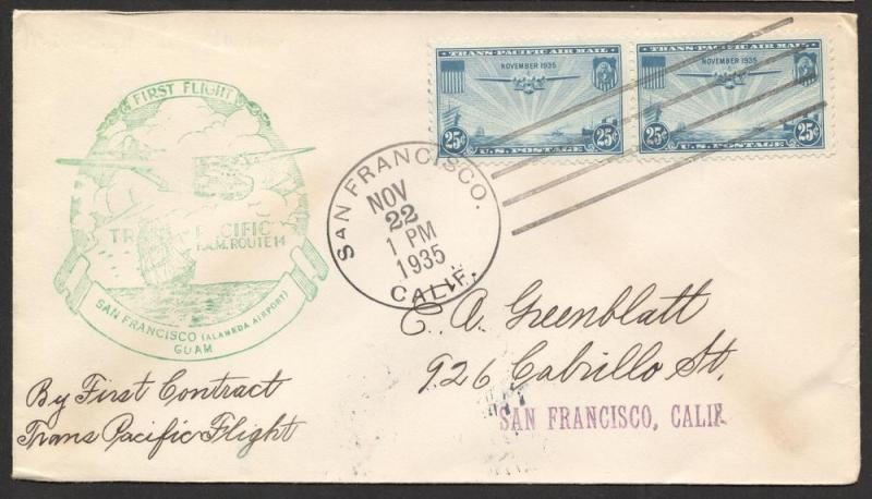 US#C20 Blue - China Clipper - First Flight Cover