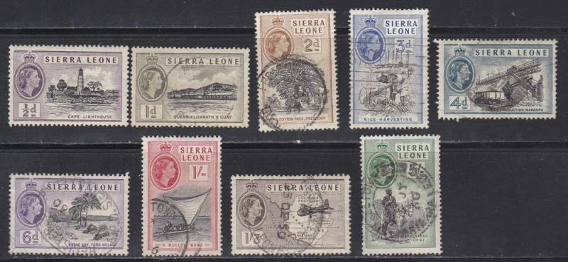 Sierra Leone # 195 / 205, QE Definitives, Used, Third Cat