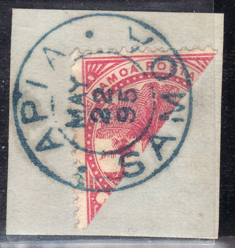 May 22nd 1895 Samoa 1/ palm diagonal bisect SON blue cancel used Sc# 18a