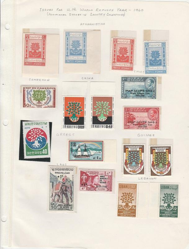 Worldwide Collection, Year of the Refugee 1960, Afghanistan to Yemen VF MNH