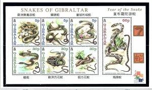 Gibraltar 870a MNH 2000 Snakes S/S  (KA)