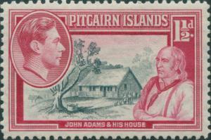 Pitcairn Islands 1940 SG3 1½d John Adams and House MLH