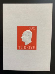 Turkey 1959 500k Ataturk MS, MNH. Scott 1472a, CV $4.00.  Isfila BL 9
