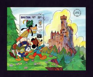BHUTAN - 1985 - DISNEY - MICKEY - GOOFY + TWAIN - TRAMP - OVPT - MINT S/SHEET!