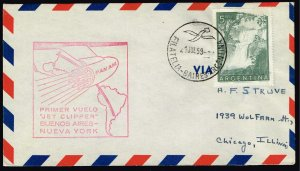 Argentina Stamp  1959 JET CLIPPER CACHET 1959 AIR LETTER TO USA