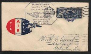 1928 First Flight Cover - CAM 21S3 - Houston to Galveston, Texas - AAMC CV $20