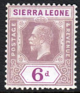 Sierra Leone KGV 1921 6d Grey-Purple Bright Purple SG139 Mint Lightly Hinged