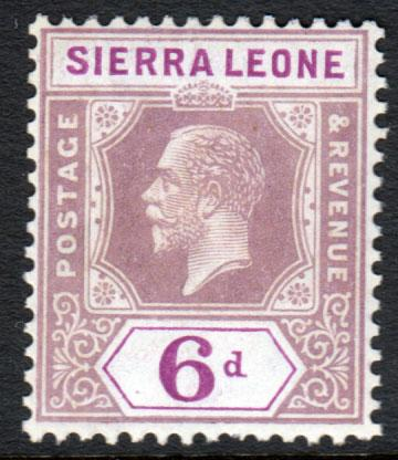 Sierra Leone KGV 1921 6d Grey-Purple Bright Purple SG139 Mint Lightly Hinged