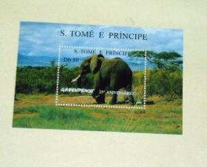 St. Thomas & Prince Is. - 1241, MNH S/S. Elephant. SCV-$6.00