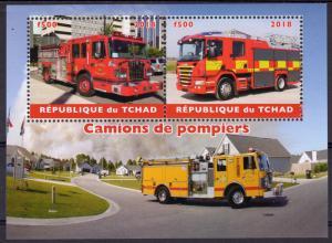 Chad 2018  Fire Engines Camions de Pompiers Trucks Transport Souvenir Sheet MNH