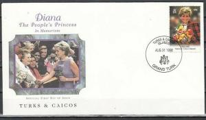 Turks & Caicos, Scott cat. 1271. Princess Diana issue. First Day Cover.