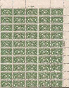 US Stamp - 1940 10c Special Handling - 50 Stamp Sheet VF/XF MNH - Scott #QE1