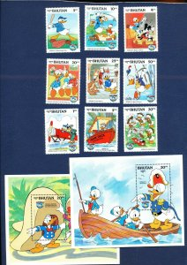 BHUTAN - #460-471 - VF MNH set & S/S - Donald Duck Movies -- two scans - 1984