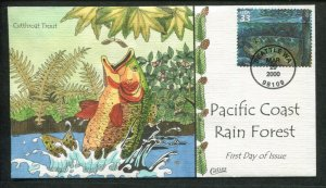 2000 Seattle Washington Pacific Coast Rain Forest Cutthroat Trout Collins FDC