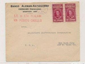 D174415 Venezuela Banco Cover 1940 Caracas New York City USA S.S. STA Puala