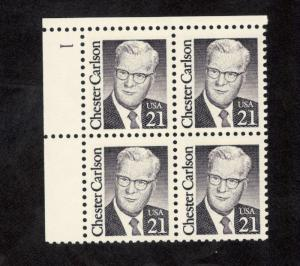 2180 Chester Carlson Plate Block Mint/nh (Free Shipping)