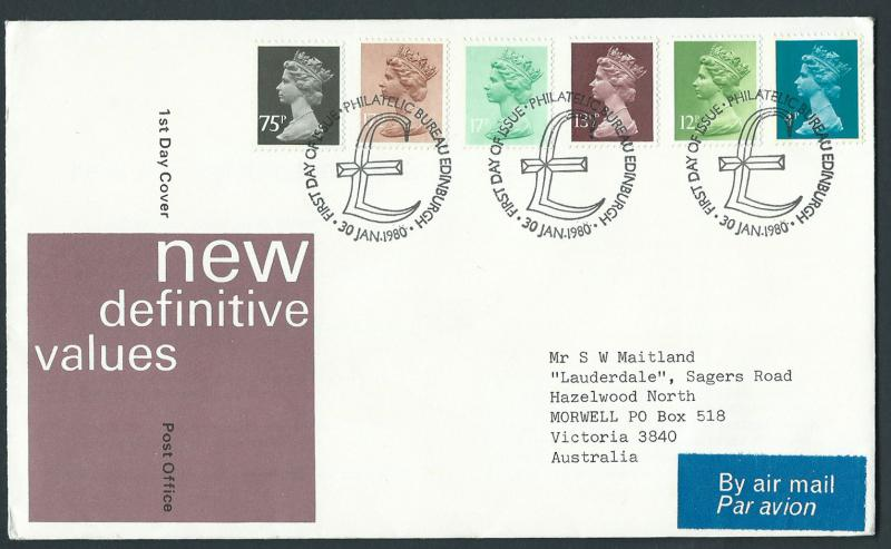 GB QEII 1980 Machins FDC x996, 943, 945, 951, 953, 1023 VFU