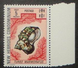 British New Hebrides 166. 1972 5Fr Sea Shell, NH