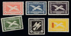 Colombia 1931 RIBON Semi Officials, Short Set + Registration M Mint . Unlisted