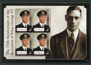 Nevis 2011 MNH King George VI 75th Accession Anniversary 4v M/S Royalty Stamps