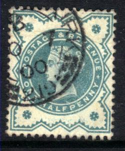 GB 1900 QV 1/2d Bluish green colour change SG 213 WMK 49 ( G626 )