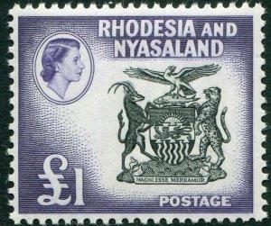 RHODESIA & NYASALAND-1959-62 £1 Black & Deep Violet Sg 31 UNMOUNTED MINT V48368